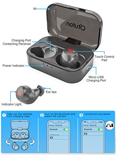 bluetooth earbuds wireless earbuds bluetooth headphones ipx7 waterproof 3d stereo hifi sound wireless earphones bluetooth headset with charging case black image 001 - Bluetooth Earbuds Wireless Earbuds Bluetooth Headphones iPX7 Waterproof 3D Stereo HiFi Sound Wireless Earphones Bluetooth Headset with Charging Case (Black)