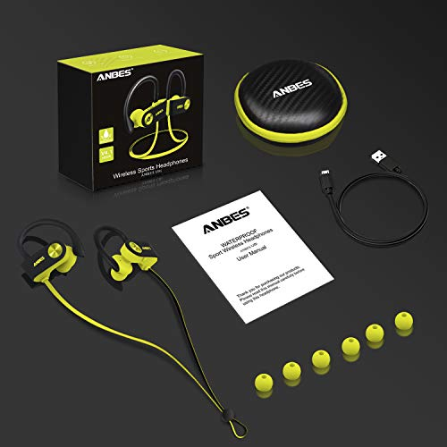 Bluetooth Headphones, Anbes Wireless Earbuds, IPX7 Waterproof Sports Earphones with Ear Hooks & Mic, HD Stereo in-Ear Earbuds Gym Running Workout, 8 Hours Battery Noise Canceling Headsets