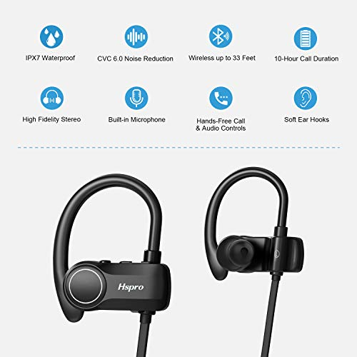 bluetooth headphones hspro wireless earbuds ipx7 waterproof sports headphones bluetooth earbuds cvc60 noise cancelling wireless headphone with microphone 10h playtime image 001 - Bluetooth Headphones, HSPRO Wireless Earbuds, IPX7 Waterproof Sports Headphones Bluetooth Earbuds, CVC6.0 Noise Cancelling Wireless Headphone with Microphone, 10H Playtime