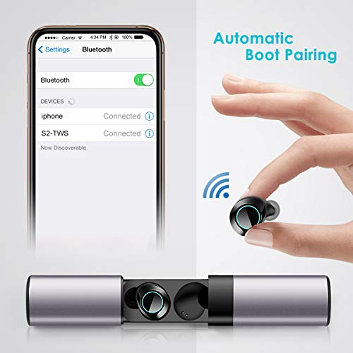 Bluetooth Wireless Earbuds,Sport Headphones Wireless HiFi Sound True Wireless Ear Buds Waterproof Dual Built-in Mic Earphones 5.0 Auto Pairing with Charging Case