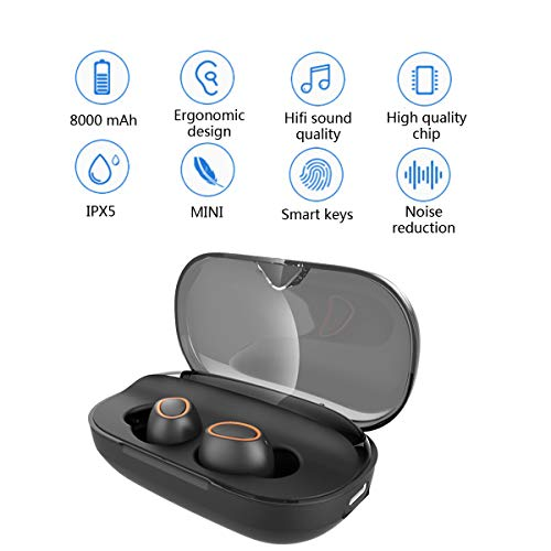 Bokai Nobby Wireless Earbuds Hi-Fi Stereo Sound Bluetooth Headphones,IPX5 Waterproof, Bluetooth 5.0,Built-in Mic and 3000mAH Magnetic Inductive Charging Case