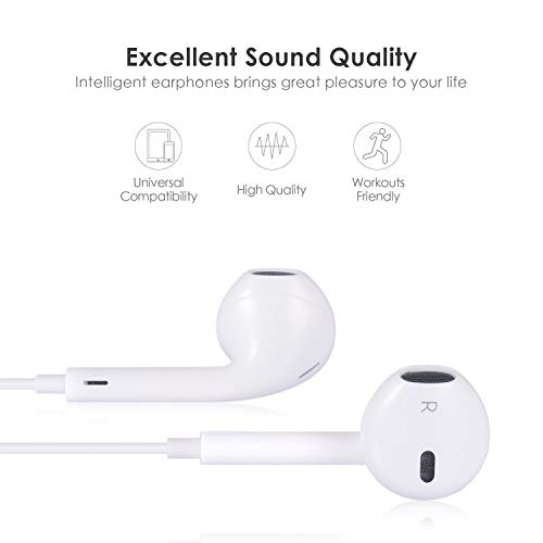 COREFYCO Headphones in-Ear Earbuds, 3.5mm Wired Headphones Noise Isolating Earphones Built-in Microphone & Volume Control Compatible with iPhone iPod iPad Samsung Android MP3 MP4