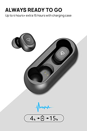 Dudios Bluetooth 5.0 Wireless Earbuds, Zeus Air True Wireless Headphone HiFi Stereo Sound Mini in-Ear Sweatproof Headset (One-Button Control, 4 hrs Playtime, Auto Pairing) (Black)