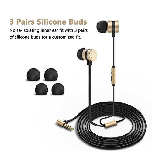 earbuds besiva in ear headphones noise isolation headsets heavy bass earphones with microphone compatible iphone samsung ipad and most android phonesoo3 image 01 - Earbuds, Besiva in-Ear Headphones Noise Isolation Headsets Heavy Bass Earphones with Microphone Compatible iPhone Samsung iPad and Most Android Phones,oo3