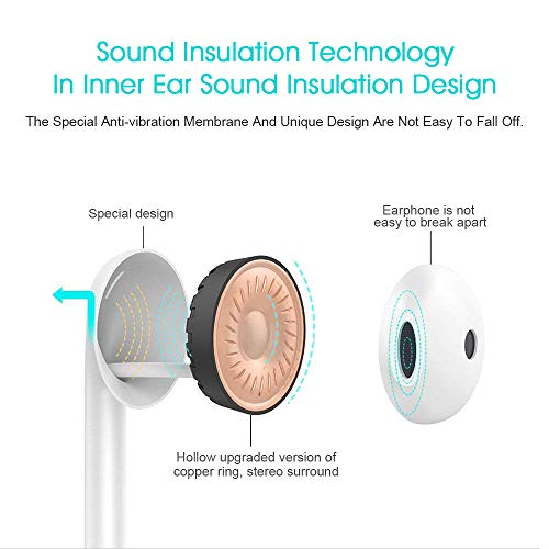 Headphones/Earphones/Earbuds, w/Mic Earphones Stereo Headphones Noise Isolating Earbuds Compatible with iPhone 6/6S/SE/4 iPod iPad Samsung/Android MP3/MP4