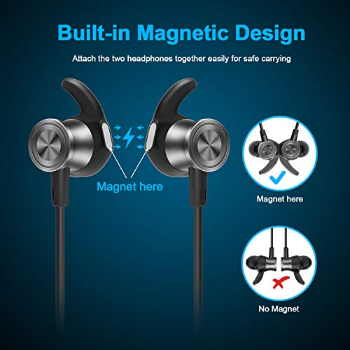 Letscom Bluetooth Headphones, Lightweight Wireless Earbuds with Magnetic Connection, IPX5 Water Resistant Bluetooth 5.0 Sports Earphones for Running, Built-in Mic, 8 Hrs Work Time