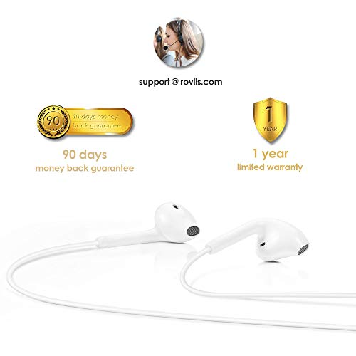 Lightning Headphones Earphones Earbuds with Microphone and Remote Control, MFi-Certified, Compatible with iPhone X/XS/Xs Max/XR iPhone 8/P iPhone 7/P, in-Ear, ROVIIS R1