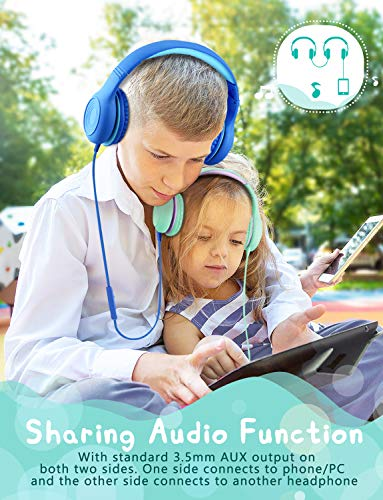 mpow ch6 2019 new version kids headphones over earon ear hd sound sharing function headphones for children boys girls volume limited safe foldable headset wmic for schoolpccellphone picture 2 - Mpow CH6 [2019 New Version] Kids Headphones Over-Ear/On-Ear, HD Sound Sharing Function Headphones for Children Boys Girls, Volume Limited Safe Foldable Headset w/Mic for School/PC/Cellphone