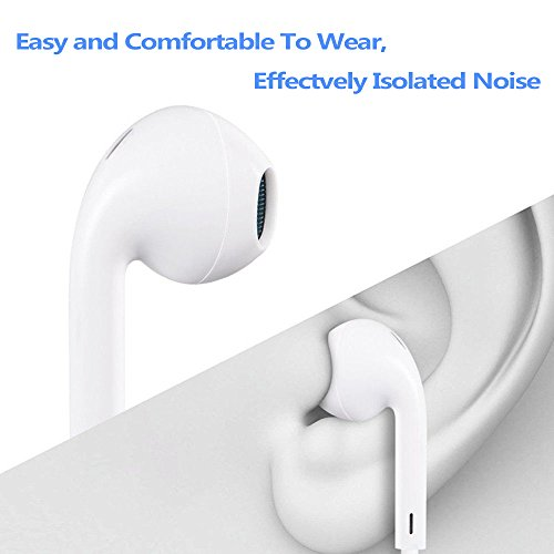 my-handy-design Earbuds, Microphone Earphones Stereo Headphones Noise Isolating Headset Fit Compatible with iPhone Xs Max/XS/XR/X 10 /iPhone 7/7 Plus/8 /8Plus [White]