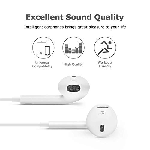 qianxiang 2pack 35mm earbudsearphonesheadphonespremium in ear wired earphones with remote mic compatible apple iphone 6splus65sse5cipad white photo 001 - QIANXIANG 2pack 3.5mm Earbuds/Earphones/Headphones,Premium in-Ear Wired Earphones with Remote & Mic Compatible Apple iPhone 6s/plus/6/5s/se/5c/iPad (White)