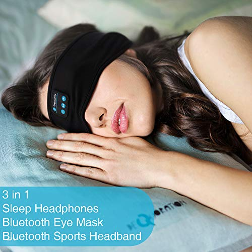 Sleep Headphones, Sleep Headphones Bluetooth, Headband Headphones with Built -in Speakers, Sports Headband with Bluetooth Headphones for Sleeping, Running (Black)