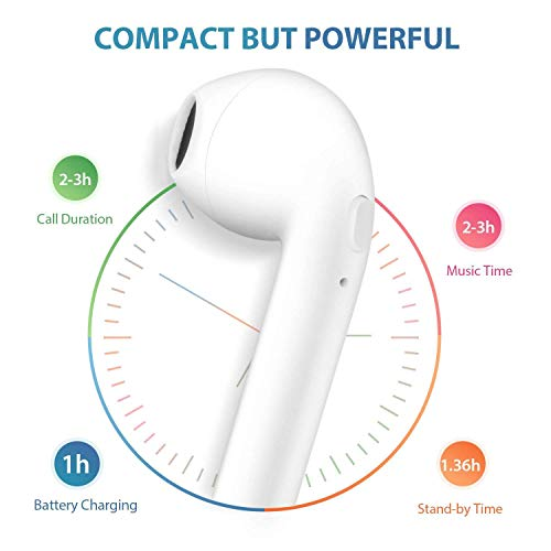 toping wireless earbuds bluetooth headphones with mic handsfree sweatproof mini in ear sports earphones noise cancelling headsets with charging case picture 2 - TOPING Wireless Earbuds, Bluetooth Headphones with Mic Handsfree Sweatproof Mini in-Ear Sports Earphones Noise Cancelling Headsets with Charging Case