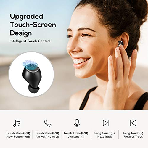 True Wireless Earbuds, Seneo Sport Wireless Earbuds, IPX7 Sweatproof True Wireless Headphones, Sport Earbuds w/Touch Control/2 Modes/21 Hours/Activate Siri/Charging Case, Bluetooth Headphones V5.0