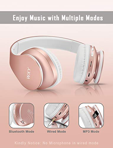 wxy bluetooth headphones over ear girls wireless headset v50 with built in mic micro tf fm radio soft earmuffs lightweight for iphonesamsungpctvtravelrose gold image 002 - WXY Bluetooth Headphones Over Ear, Girls Wireless Headset V5.0 with Built-in Mic, Micro TF, FM Radio, Soft Earmuffs & Lightweight for iPhone/Samsung/PC/TV/Travel(Rose Gold)