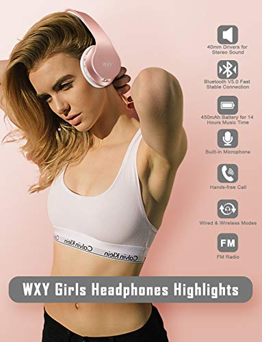 WXY Bluetooth Headphones Over Ear, Girls Wireless Headset V5.0 with Built-in Mic, Micro TF, FM Radio, Soft Earmuffs & Lightweight for iPhone/Samsung/PC/TV/Travel(Rose Gold)