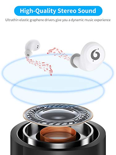 [2019 Version] Bluetooth Earbuds Wireless Headphones Bluetooth Headset Wireless Earphones IPX7 Waterproof Bluetooth 5.0 Stereo Hi-Fi Sound with 2200mA (White)