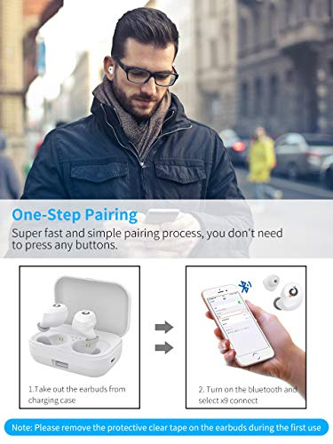2019 version bluetooth earbuds wireless headphones bluetooth headset wireless earphones ipx7 waterproof bluetooth 50 stereo hi fi sound with 2200ma white photo 01 - [2019 Version] Bluetooth Earbuds Wireless Headphones Bluetooth Headset Wireless Earphones IPX7 Waterproof Bluetooth 5.0 Stereo Hi-Fi Sound with 2200mA (White)