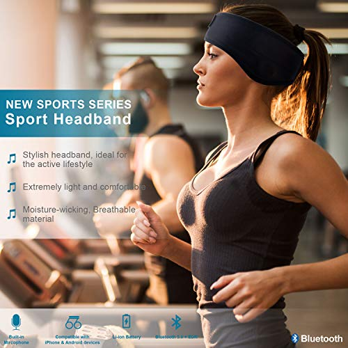 bluetooth headband sleep headphonesskyeol wireless bluetooth sleeping headband with mic built in stereo speakers for sleeping sports air travel meditation and relaxation headband image 001 - Bluetooth Headband Sleep Headphones,SKYEOL Wireless Bluetooth Sleeping Headband with Mic Built-in Stereo Speakers for Sleeping, Sports, Air Travel, Meditation and Relaxation (Headband)