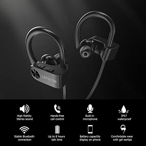 bluetooth headphones letscom wireless earbuds ipx7 waterproof noise cancelling headsets richer bass hifi stereo sports earphones 8 hours playtime running headphones with travel case picture 2 - Bluetooth Headphones, LETSCOM Wireless Earbuds IPX7 Waterproof Noise Cancelling Headsets, Richer Bass & HiFi Stereo Sports Earphones 8 Hours Playtime Running Headphones with Travel Case