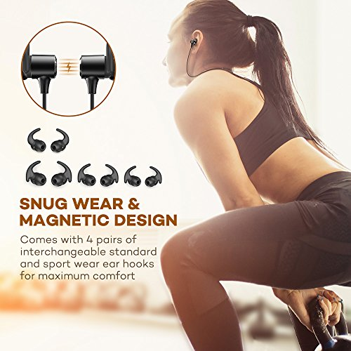 bluetooth headphones wireless earphones bluetooth 42 ipx6 magnetic noise cancelling mic 9hrs playtime sport earbuds aptx in ear sweatproof for running 025 black 01 image 002 - Bluetooth Headphones, Wireless Earphones : Bluetooth 4.2, IPX6, Magnetic, Noise Cancelling Mic, 9hrs Playtime Sport Earbuds APtX in Ear Sweatproof for Running, 025 BLACK-01