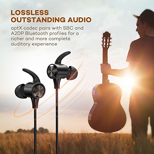 bluetooth headphones wireless earphones bluetooth 42 ipx6 magnetic noise cancelling mic 9hrs playtime sport earbuds aptx in ear sweatproof for running 025 black 01 photo 001 - Bluetooth Headphones, Wireless Earphones : Bluetooth 4.2, IPX6, Magnetic, Noise Cancelling Mic, 9hrs Playtime Sport Earbuds APtX in Ear Sweatproof for Running, 025 BLACK-01