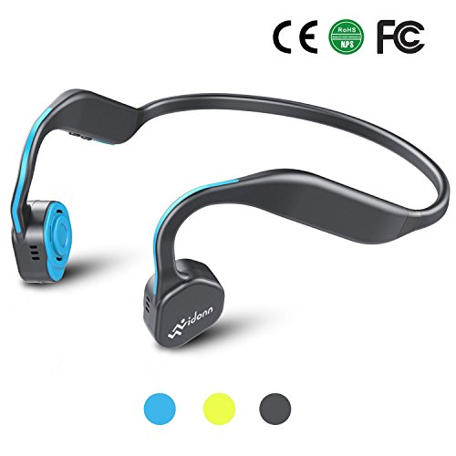 Bone Conduction Headphones, Bluetooth 5.0 Vidonn F1 Titanium Open Ear Wireless Sports Headset (Grey-Blue)