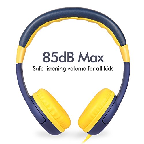 Children Headphones, Wired Over Ears Kids Headset, 85db Volume Limiting, Child-Friendly ABS, Tangle Free Cord, with 3.5mm Aux Jack for Kids (Blue)