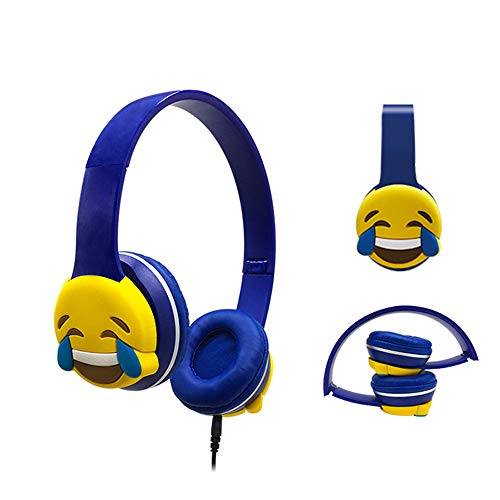 Cute Emoji Headband Stereo Headphones with Microphone Portable Wired Headset for Mobile Phone Mp3 Music (TEARS)