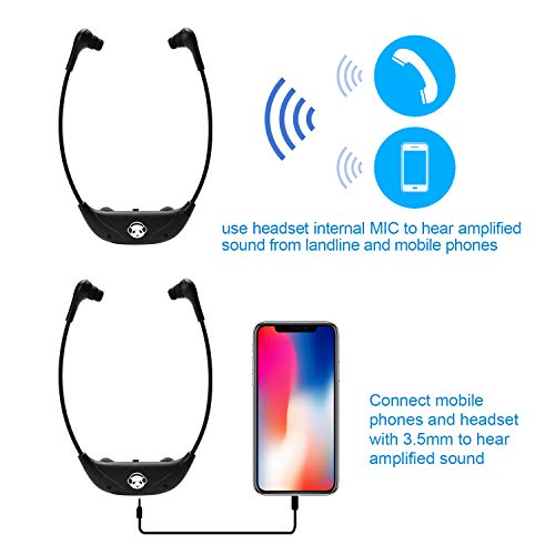 Earpanda Wireless TV Headphones for Seniors,TV Listening Headphones,Cordless Hearing Impaired Headphones for TV,Connects to Both Digital and Analog TVs,TV Amplifier for Hearing Impaired