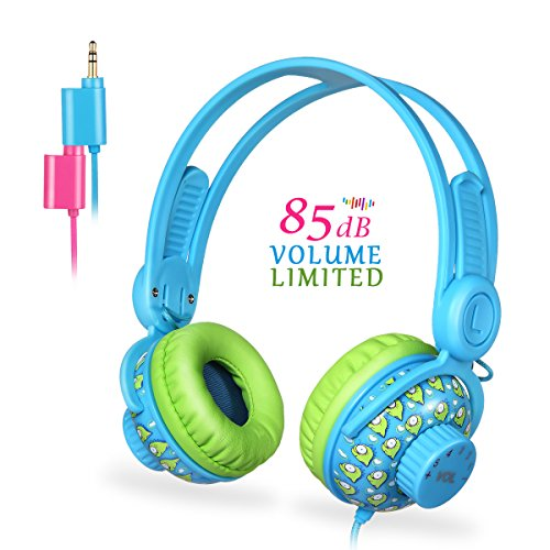Funwaretech Kids Headphones,Wired Noise Cancelling On-Ear Headphones for Children/Teens/Girls/Boys,【Hearing Protection & Stereo Music Sharing】,Kids Friendly Food Grade Silicone Material -Blue