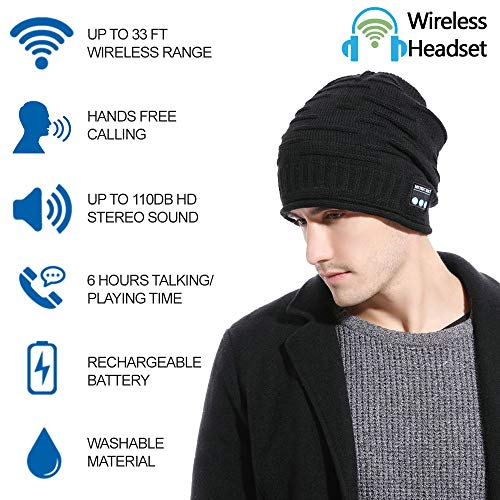 hightechlife upgraded wireless bluetooth beanie hat headphones v42 unique christmas tech gifts for mendadwomenmomteen boysgirls stocking stuffer wbuilt in hd stereo speakers microph image 002 - HighTechLife Upgraded Wireless Bluetooth Beanie Hat Headphones V4.2 Unique Christmas Tech Gifts for Men/Dad/Women/Mom/Teen Boys/Girls Stocking Stuffer w/Built-in HD Stereo Speakers & Microphone