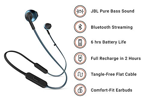 jbl jblt205btbluam in ear wireless bluetooth headphone blue picture 1 - JBL JBLT205BTBLUAM in-Ear, Wireless Bluetooth Headphone, Blue