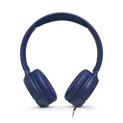JBL T500 On-Ear Headphone in-Ear Headphone with One-Button Remote/Mic, Blue