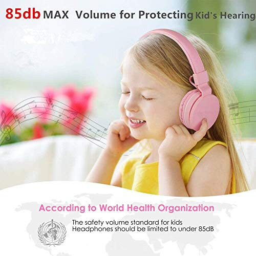 kids headphones girls with 85db volume limitingmicrophone and volume controlsafe foldable on ear headphones for child children toddlergirl headphones earphones headsets for kids pink image 2 - Kids Headphones Girls with 85dB Volume Limiting,Microphone and Volume Control,Safe Foldable On Ear Headphones for Child Children Toddler,Girl Headphones Earphones Headsets for Kids-Pink