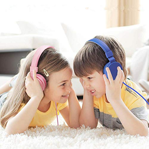 Kids Headphones Girls with 85dB Volume Limiting,Microphone and Volume Control,Safe Foldable On Ear Headphones for Child Children Toddler,Girl Headphones Earphones Headsets for Kids-Pink