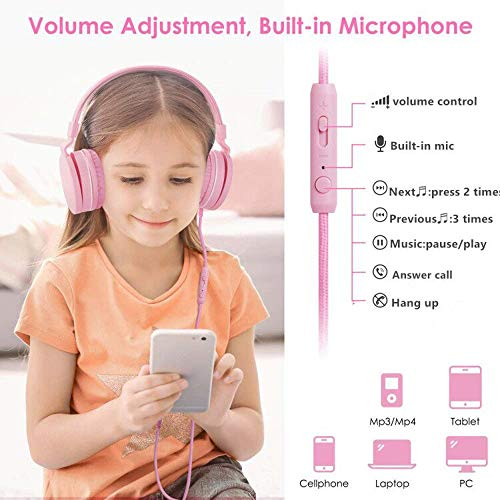 kids headphones girls with 85db volume limitingmicrophone and volume controlsafe foldable on ear headphones for child children toddlergirl headphones earphones headsets for kids pink photo 1 - Kids Headphones Girls with 85dB Volume Limiting,Microphone and Volume Control,Safe Foldable On Ear Headphones for Child Children Toddler,Girl Headphones Earphones Headsets for Kids-Pink