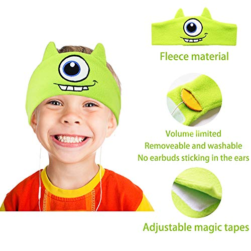 kids headphones volume limiting with ultra thin adjustable speakers soft children fleece headband toddler headphones for home and travel monster picture 1 - Kids Headphones, Volume Limiting with Ultra Thin Adjustable Speakers Soft Children Fleece Headband Toddler Headphones for Home and Travel - Monster