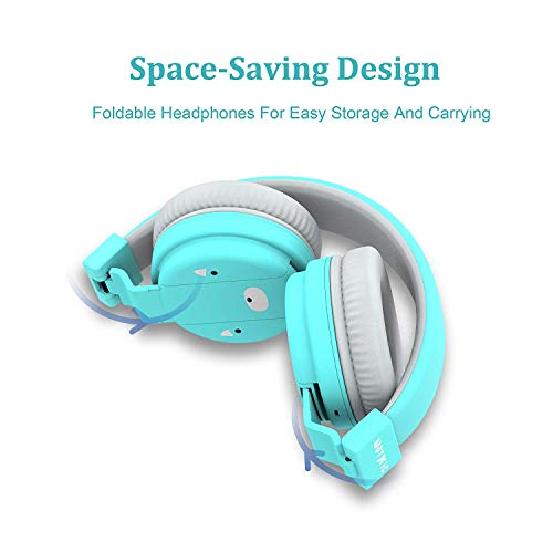 kids headphones wotmic wired headset foldable children on ear headphones with adjustable headband stereo sound35mm jack for ipad cellphones airplane school blue image 001 - Kids Headphones, Wotmic Wired Headset Foldable Children On Ear Headphones with Adjustable Headband, Stereo Sound,3.5mm Jack for iPad Cellphones Airplane School-Blue