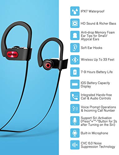 Mpow Flame Bluetooth Headphones Waterproof IPX7, Wireless Earbuds Sport, Richer Bass HiFi Stereo in-Ear Earphones w/Case, 7-9 Hrs Playback, Noise Cancelling Microphone (Comfy & Fast Pairing)