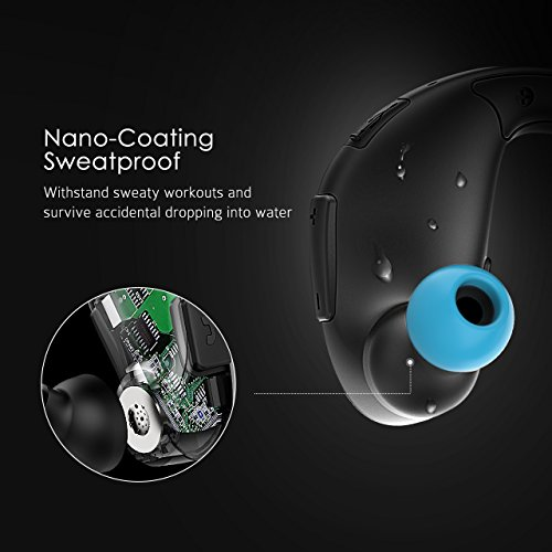 Mpow Upgraded Cheetah Bluetooth Headphones, V4.1 aptX Stereo Wireless Sport Headphones, 8-Hour Playtime, Waterproof Behind-Ear Running Headset w/CVC6.0 Noise Cancelling Mic.