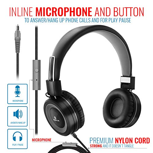 on ear headphones with microphone lightweight folding headset for computer tablet ipad smart phone mp3 comfortable adjustable fit music bass tangle free 15m cord with 35mm jack picture 2 - On-Ear Headphones with Microphone - Lightweight Folding Headset for Computer, Tablet Ipad Smart Phone MP3 Comfortable Adjustable fit Music bass | Tangle Free 1.5m Cord with 3.5mm Jack