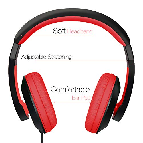 rockpapa on ear stereo headphones earphones for adults kids childs teens adjustable heavy deep bass for iphone ipod ipad macbook surface mp3 dvd smartphones laptop blackred image 01 - RockPapa On Ear Stereo Headphones Earphones for Adults Kids Childs Teens, Adjustable, Heavy Deep Bass for iPhone iPod iPad MacBook Surface MP3 DVD Smartphones Laptop (Black/Red)