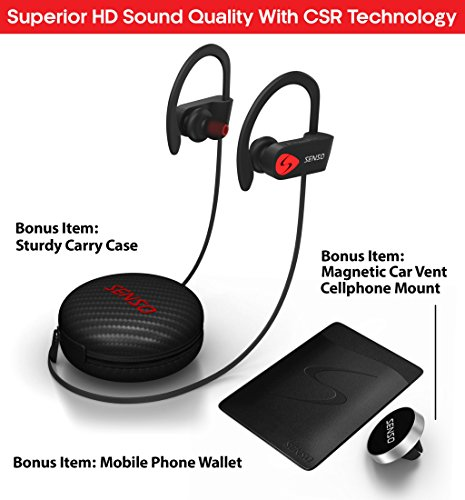 senso bluetooth headphones best wireless sports earphones wmic ipx7 waterproof hd stereo sweatproof earbuds for gym running workout 8 hour battery noise cancelling headsets photo 01 - SENSO Bluetooth Headphones, Best Wireless Sports Earphones w/Mic IPX7 Waterproof HD Stereo Sweatproof Earbuds for Gym Running Workout 8 Hour Battery Noise Cancelling Headsets