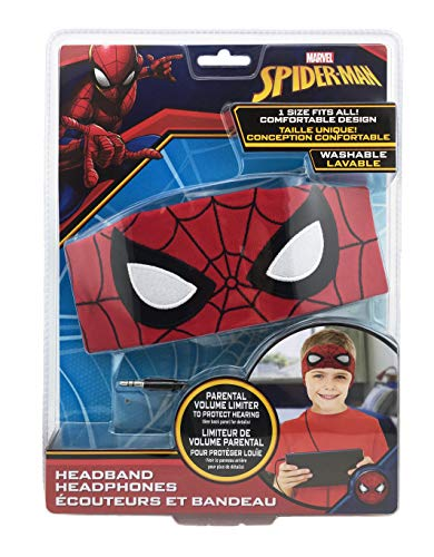 Spiderman Kids Headband Headphones Volume Limiting Switch Thin Speakers & Comfortable Soft Cotton Headband Perfect for Children's Earphones for School Home and Travel (Standard Packaging)