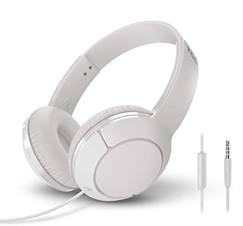 tcl mtro200 headset wired headphones powerful bass headband with built in mic ergonomic fit ash white picture 001 - TCL MTRO200 Headset Wired Headphones - Powerful Bass Headband with Built-in Mic, Ergonomic Fit - Ash White