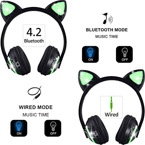 treesine wireless bluetooth led cat ear headphones for girls kids 7 color color changing glowing over cosplay cat ears gaming headsets with microphone for smartphones pc tablet photo 01 - Treesine Wireless Bluetooth LED Cat Ear Headphones for Girls, Kids, 7-Color Color Changing Glowing Over Cosplay Cat Ears Gaming Headsets with Microphone for Smartphones PC Tablet
