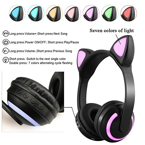 treesine wireless bluetooth led cat ear headphones for girls kids 7 color color changing glowing over cosplay cat ears gaming headsets with microphone for smartphones pc tablet picture 02 - Treesine Wireless Bluetooth LED Cat Ear Headphones for Girls, Kids, 7-Color Color Changing Glowing Over Cosplay Cat Ears Gaming Headsets with Microphone for Smartphones PC Tablet