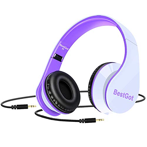 upgrade bestgot kids headphones for kids adult foldable headphones with 35mm plug removable cord whitepurple picture 1 - [Upgrade] BestGot Kids Headphones for Kids Adult Foldable Headphones with 3.5mm Plug Removable Cord (White/Purple)