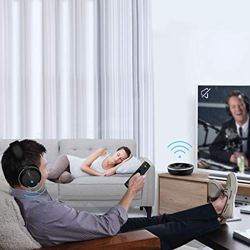 Wireless TV Headphone, VOGEK Hi-Fi Stereo 2.4G RF Headset with Transmitter Charging Dock, Optical Fiber TV Earphone 100ft Wireless Range Rechargeable for TV/PC/Phone (Not Bluetooth)