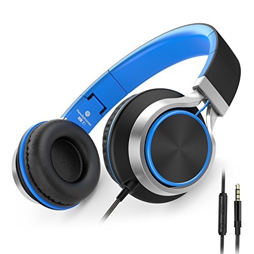 ailihen c8 headphones with microphone and volume control folding lightweight headset for cellphones tablets smartphones laptop computer pc mp34 blackblue picture 1 - AILIHEN C8 Headphones with Microphone and Volume Control Folding Lightweight Headset for Cellphones Tablets Smartphones Laptop Computer PC Mp3/4 (Black/Blue)